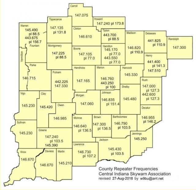 Central Indiana Map.Central Indiana Skywarn Repeaters Central Indiana Skywarn